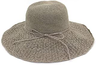 Summer hat Summer Women Sun Hat Beach Folding Casual Summer Broad Side Fashion Unproblematic Panama Straw Floppy hat (Color : Gray, Size : 56-58CM)