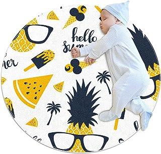 Soft Round Area Rug 100x100cm/39.4x39.4IN Anti-Slip Floor Circle Mats Absorbent Memory Sponge Standing Mat,Hello Summer Fruit