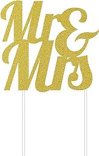 Creative Converting Mr. & Mrs. Glitter Cake Topper, 7-Inch Width x 9.5-Inch Height, Gold