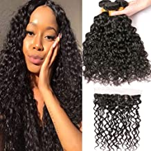 BK Beckoning Water Wave Virgin Hair With Frontal Free Part Density 130% 3 Bundles Brazilian Hair And Lace Frontal 8a Real Human Hair Natural Color 20 22 24 Inch Plus 18 Inch 13x4 Closure