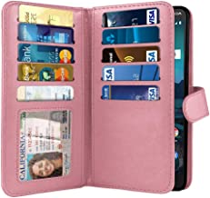 NEXTKIN Case Compatible with Nokia 3.1 Plus 2019 Cricket, Leather Dual Wallet TPU Cover Pockets Double Flap Multi Card Slots Button Strap for Nokia 3.1 Plus Cricket (NOT FIT International) - Pink