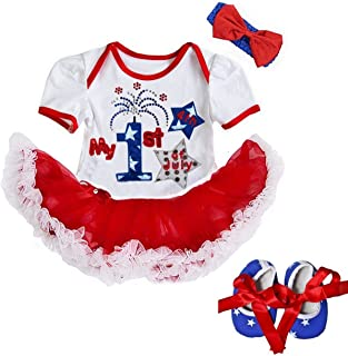 Kirei Sui Baby 1st First 4th of July White Red Blue Stars Bodysuit Tutu & Headband