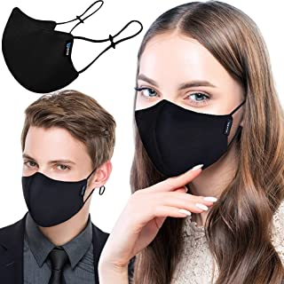 Reusable 3-Ply Cloth Face Mask - Washable Breathable Comfortable Fabric Mask with Nose Wire and Filter Pocket