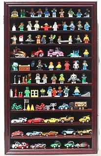 Minifigures Miniature Figures Display Case Wall Curio Cabinet (Mahogany Finish)