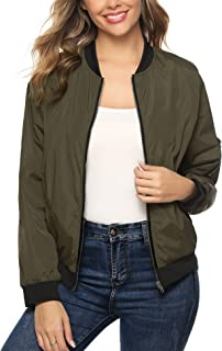 Aibrou Women Lightweight Bomber Jacket Long Sleeve Zip up Casual Coat with Pockets S-XXL
