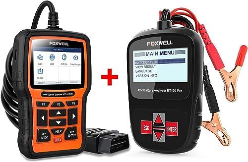 2021 FOXWELL Professional popular Car Diagnostic Tool Set(12v Battery Tester BT100 Pro + wholesale Full-System Scanner for BMW) sale