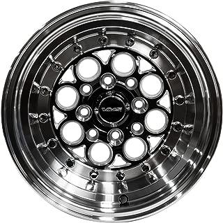 "2x (Pair / Set) 13x9"" VMS Racing Modulo 4 LUG Drag Track WHEELS RIMS 4x100 / 4x114 ET0 Offset 0 in BLACK SILVER Cast Machined Aluminum for Toyota Scion xA xB 04-07 2004-2007 (4 lug pattern)"