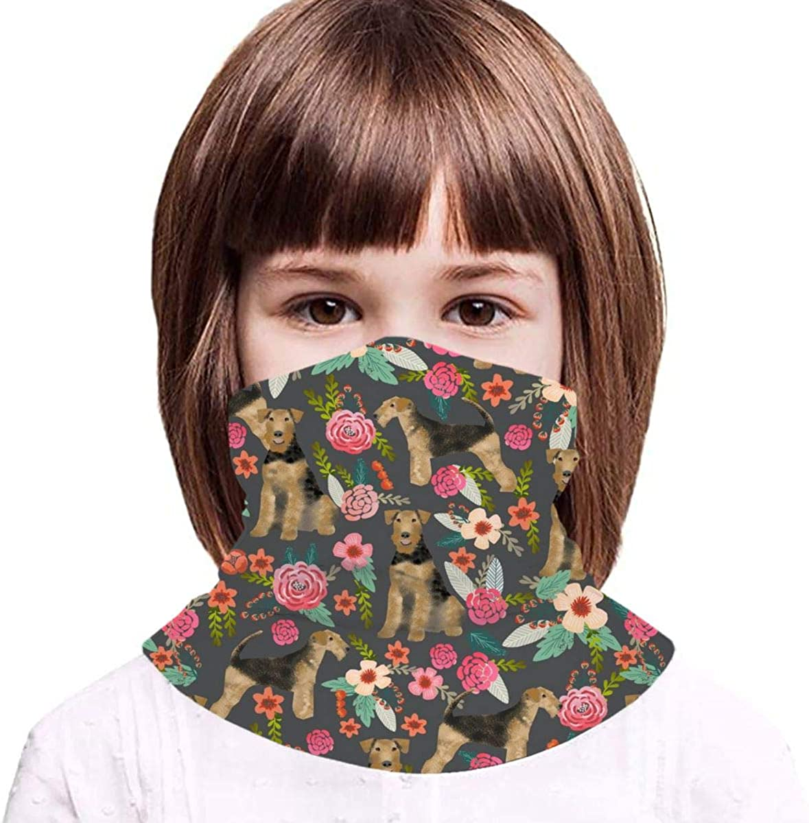 Terrier Dog Cute Dogs Spring Florals Floral Spring Design Kids Face Mask Dust Sun UV Protection Neck Gaiter Balaclava Face Cover Scarf Summer Breathable for Cycling Fishing Outdoors