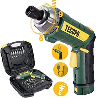 Cordless Screwdriver, 6Nm TECCPO Electric Screwdriver, 4V 2000mAh Li-ion, with 45 Free..