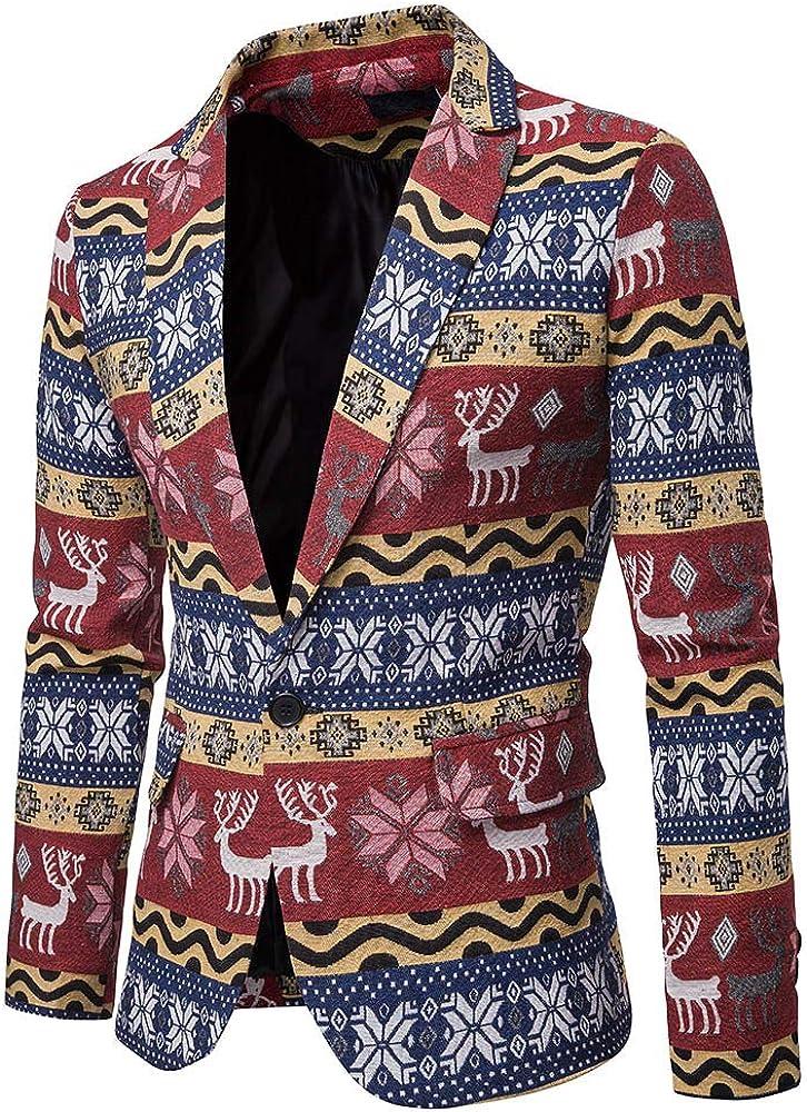 Mens Slim Suit Jackets Christmas Multicolor V-Neck Print Fit Formal One Button Blazer Coat