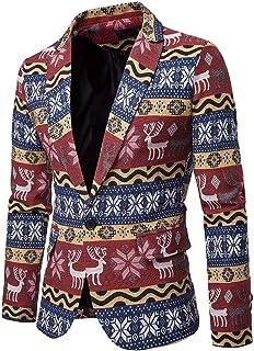 WUOOYOQ Men Casual Blazer Autumn Coats, Christmas Deer Print Formal Jacket, Long Sleeve One-Button Tops