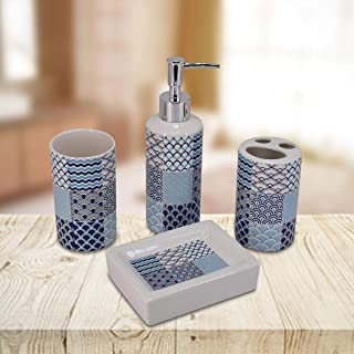 Kookee™ Ceramic Bathroom Accessories Set of 4 includes Soap Dish, Tooth brush Tumbler, Toothbrush Holder and Dispenser Pum...