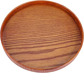 Wood Serving Plate,Wood Round Serving Tea Tray Fruit Dessert Cake Snack Candy Water Platter Wooden Bowls(24cm / 9.45 inch)
