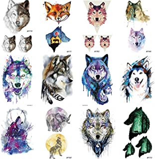 12Pieces/Lot COKTAK DIY Watercolor Wolf Flash Temporary Tattoos Stickers For Women Kids India Waterproof Tatoos Body Art Painting Dog 10x6CM