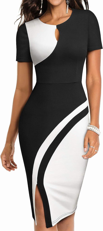 HOMEYEE Women Keyhole Colorblock Slim Bodycon Business Pencil Dress B571