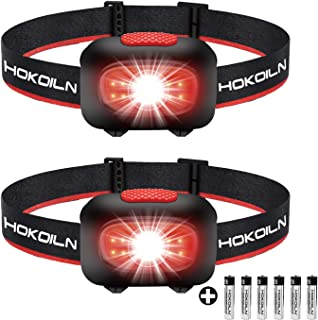 HOKOILN LED Headlamp Flashlight [2PACK] - Running, Camping and Outdoor Headlamps - 5 Modes Adjustable Head Lamp with Red C...