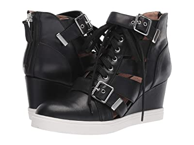 LINEA Paolo Fave Wedge Sneaker (Black Leather) Women