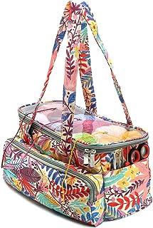 SumDirect Sac de rangement pour fil à tricoter, sac fourre-tout portable avec couvercle transparent pour le rangement de l...