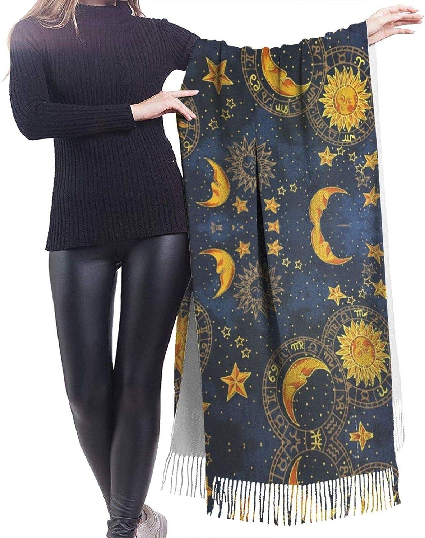 Moon Sun Fabric Cashmere Feel Scarf Lightweight Soft Scarfs For Boys Girls Creative Warm Cold Weather Blanket Scarf