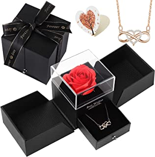 Siebwin Rose Eternelle, Coffret Cadeau de Roses avec Collier en Forme de Coeur Amour éternel, Idee Cadeau Anniversaire Sai...
