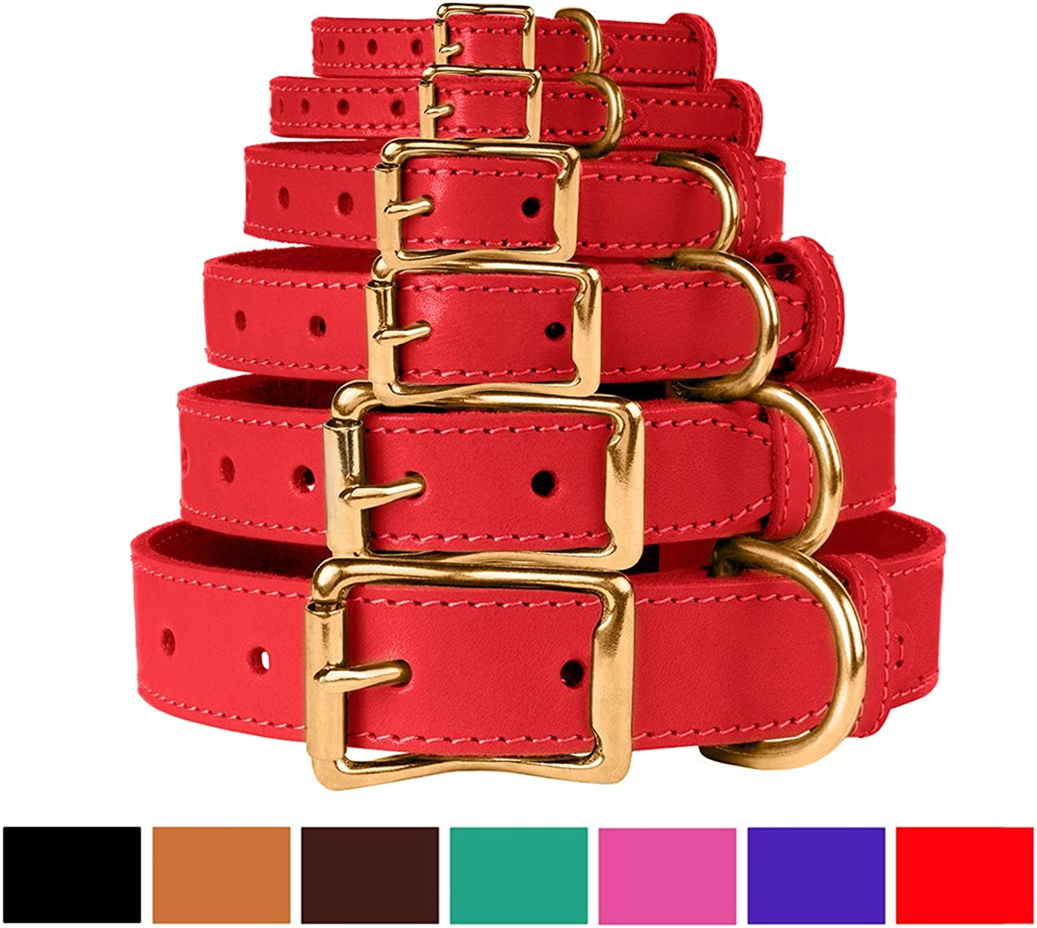 BronzeDog Leather Dog Collar, Genuine & Durable, Brass Buckle Comfort Pet Collars Adjustable for Puppy Small Medium Large Dogs, Pink Red Black Brown Purple Green (Neck Size 11 15 , Red)