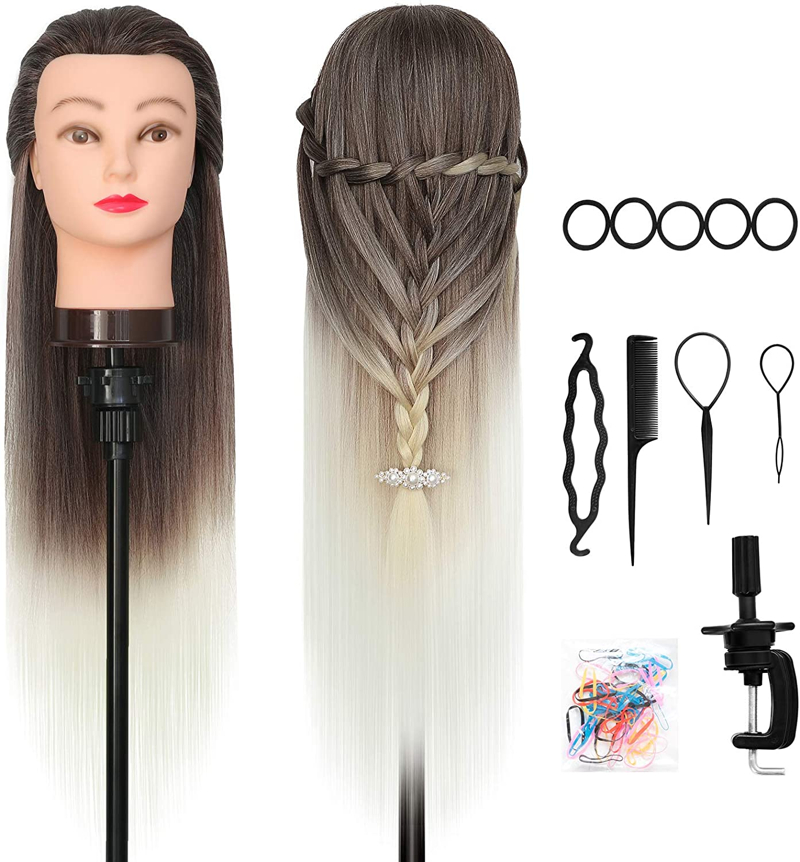 Cabeza Peluqueria, DanseeMeibr Plus Cabeza Maniqui 66cm Suave 100% Pelo Sintético Cabeza Maniqui Peluqueria para la práctica de peinados con Abrazadera+ Accesorios de Peinado DIY