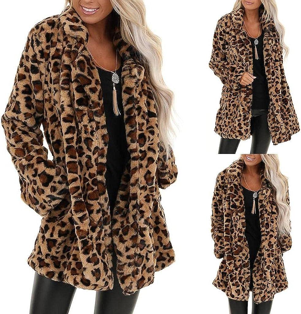 Women's Leopard Double-Sided Faux Fur Pocket Fleece Warm Winter Oversized Outwear Plus Size Winter Overcoat Trench Tops