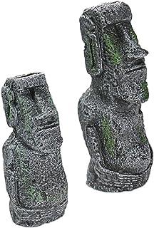 水槽用 魚 隠れ家 エジプト 古代遺跡 オーナメント セット アクアリウム オブジェ 建造物 建物 熱帯魚 装飾 インテリア (モアイ大+モアイ小)