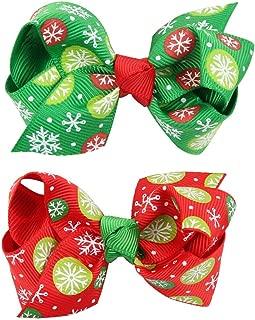 Girl Christmas Barrettes Pinwheel Hairpins Grosgrain Ribbon Snow Hair Clips Bows JHC02