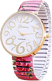 Geneva Casual Watch For Women Pink Rose With Metal Band