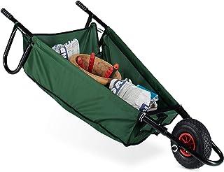 Relaxdays Folding Wheelbarrow, Large, 90 L, up to 30 kg, Steel, Polyester, Size: 30 x 66 x 160 cm, Folding Garden Cart, Ha...
