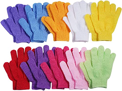 10 Pairs Exfoliating Bath Gloves,Made of 100% NYLON,10 Different Colors Double Sided Exfoliating Gloves for Beauty Sp...