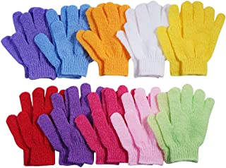10 Pairs Exfoliating Bath Gloves,Made of 100% NYLON,10 Colors Double Sided Exfoliating Gloves for Beauty Spa Massage Skin ...