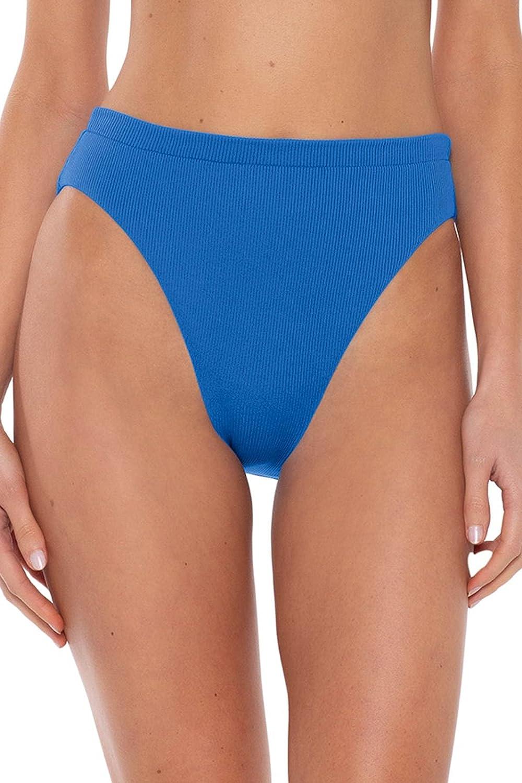 Becca by Rebecca Virtue Women's Danielle Ribbed High Waist Brazilian Bikini Bottom