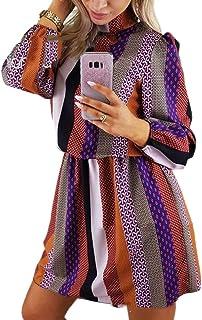 chenshiba-JP レディースファッションロングスリーブ高ネック幾何学プリントショートドレス