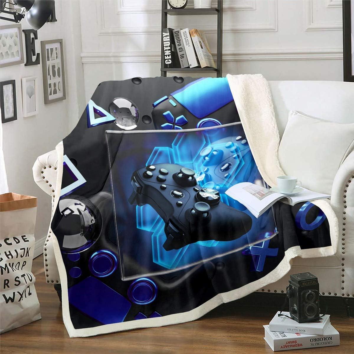Erosebridal Boys Gaming Bed Blanket Modern Gamer Gamepad Plush Blanket,Video Game Throw Soft Couch Throw Blanket Pink Blue Action Buttons Fleece Blankets,Gift Blanket,Black Queen 90x90