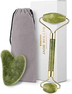 Jade Roller for Face, Jade Roller and Gua Sha Tools Set, EUASOO 100% Real Natural Nephrite Jade Roller Facial Roller Massa...