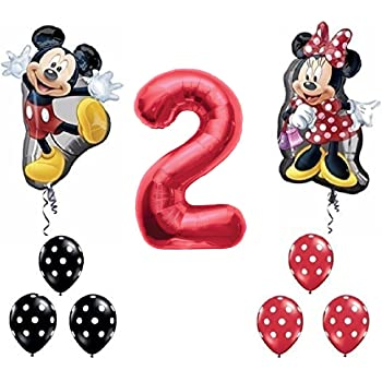 Disney Minnie Mouse Second Birthday Mylar and Latex Balloons Bouquet 8 pc by Anagram SG/_B01BQZS1K8/_US