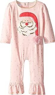 Womens Christmas Santa Ruffle Long Sleeve One-Piece Playwear (Infant)