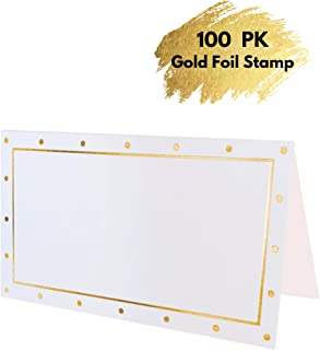 Winoo Paper Greetings 100 Gold Foil Polka Dots Seating Place Cards | 2 x 3.5 Inches Small Table Tent Cards | Table Setting Name Cards are Perfect for Party Dinner Buffet Event, Weddings, Banquets