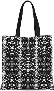 S4Sassy Green Geometric Tie-Dye Print Canvas Shopping Tote Bag Carrying Handbag Casual Shoulder Bag 16x12 Inches