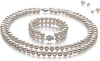 Juliane White 6-7mm Double Strand A Quality Freshwater 925 Sterling Silver Cultured Pearl Set For Women
