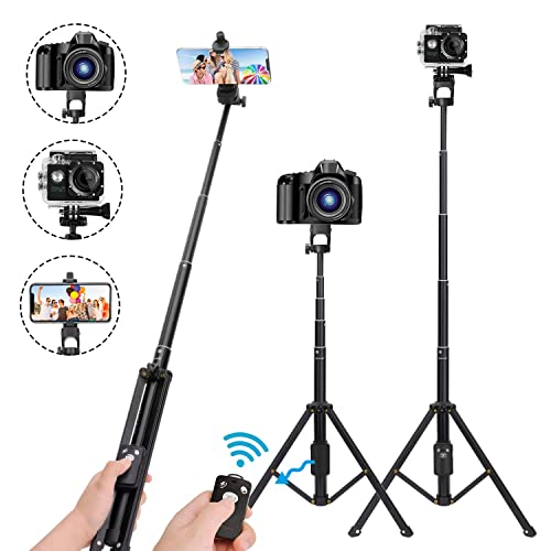 Selfie Stick Tripod,54 Inch Extendable Camera Tripod for Cellphone,Wireless Remote for Apple
