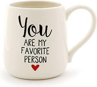 "Enesco 6000503 Our Name Is Mud ""Favorite Person"" Stoneware Engraved Coffee Mug, 16 oz, White"