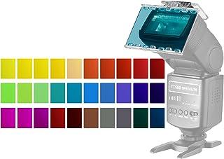 Neewer 30-Pieza Kit de Filtro de Gel de Color Cámara Flash Speedlite - Hojas de Plástico Película Correctiva de Color Transparente con Puerta de Granero y Bolsa para Canon Nikon Sony YONGNUO Flash