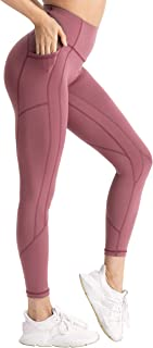Hopgo Women's High Waisted Workout Yoga Pants with Pockets Tummy Control Running Leggings 4 Way Stretch