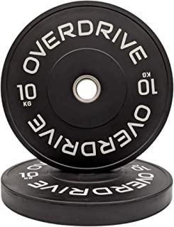 Black Bumper Plates Olympic Weight Plates by OVERDRIVE Gym Weights for Home Gym
