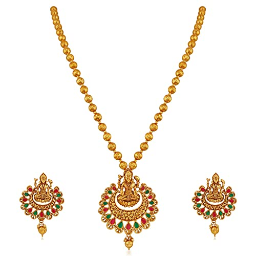 48869d2c2 APARA Multicolour Gold Plated Traditional South Indian Laxmi Jewellery Set  for Women