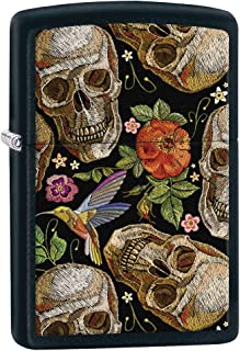 Zippo Lighter: Skull and Flowers Pattern - Black Matte 80481
