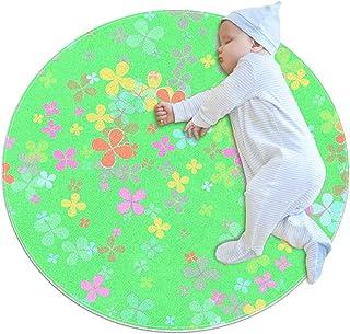 Pastell fyrklöver för barn, rund matta i polyester för prydnadskudde mjuk pedagogisk tvättbar matta barnkammare tipi tält ...